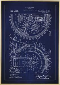 Bildverkstad Patenttekening - Tandwiel - Blauw Poster