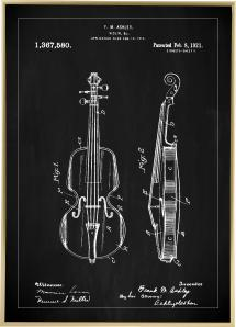 Bildverkstad Patenttekening - Viool - Zwart Poster