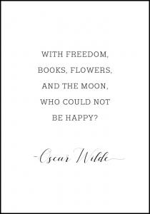 Bildverkstad With freedom, books, flowers, and the moon, who could not be happy Poster