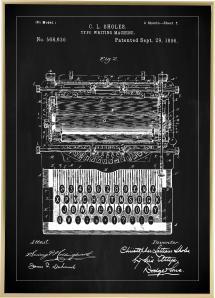 Bildverkstad Patenttekening - Typmachine - Zwart Poster