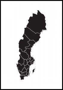Bildverkstad Kaart van Zweden Zwart Poster
