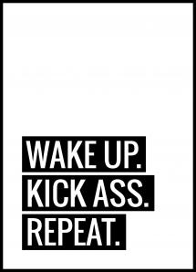 Lagervaror egen produktion Wake Up Kick Ass Repeat II - Poster