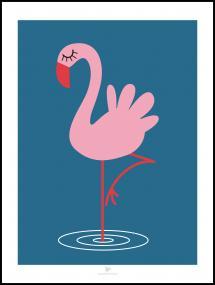 Bildverkstad Flamingo - Blue Poster