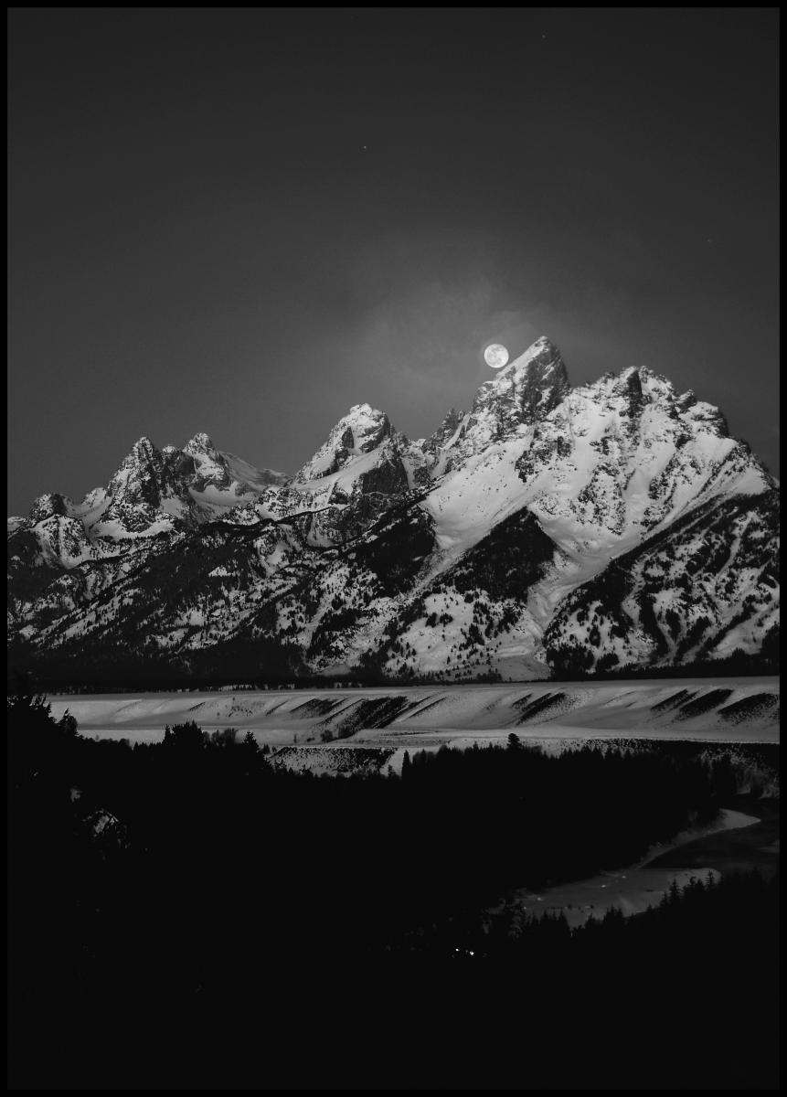 Bildverkstad Full Moon Sets in the Teton Mountain Range Poster