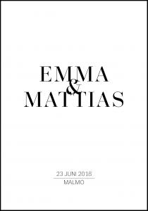 Personlig poster Stylish Wedding Nameposter