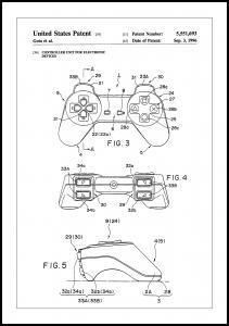 Lagervaror egen produktion Patent Print - Game Controller II - White Poster