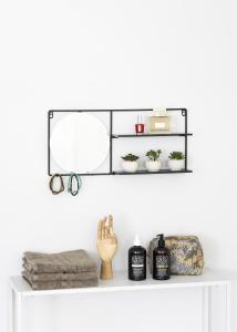 KAILA KAILA Ronde Spiegel met plankje - Zwart 55x25 cm