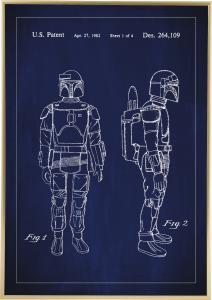 Bildverkstad Patenttekening - Star Wars - Boba Fett - Blauw Poster