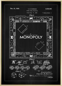 Bildverkstad Patenttekening - Monopolie I - Zwart Poster