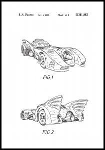 Bildverkstad Patenttekening - Batman - Batmobile 1990 I Poster