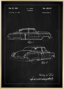 Lagervaror egen produktion Patenttekening - Cadillac I - Zwart Poster