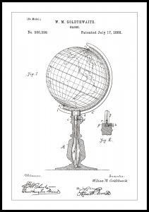 Bildverkstad Patenttekening - Wereldbol - Wit Poster