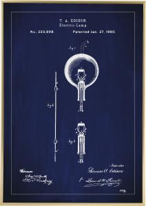 Bildverkstad Patenttekening - Gloeilamp B - Blauw Poster
