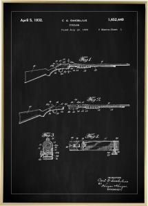 Bildverkstad Patenttekening - Geweer I - Zwart Poster