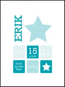 Personlig poster Star Birth Poster Turquoise