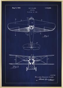 Bildverkstad Patenttekening - Vliegtuig - Blauw Poster