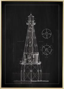 Bildverkstad Schoolbord - Vuurtoren - Ship Shoal Lighthouse Poster