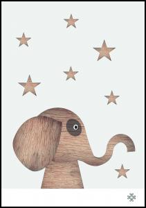 Bildverkstad Wood elephant Light Poster
