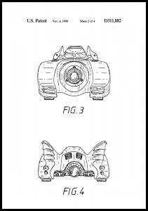 Bildverkstad Patenttekening - Batman - Batmobile 1990 II Poster