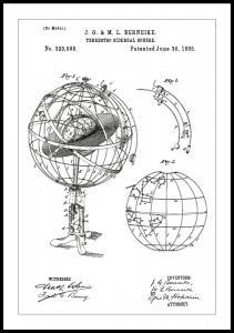 Bildverkstad Patenttekening - Astronomisch model - Wit Poster