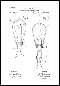 Bildverkstad Patenttekening - Gloeilamp A - Wit Poster