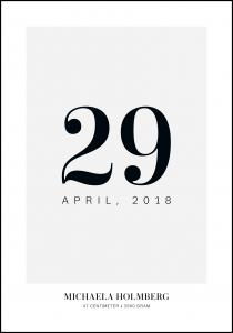 Personlig poster Geboorteposter Datum - Grijs
