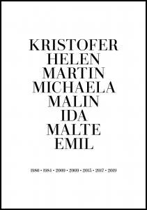 Personlig poster Gezinsposter - 8 Namen & Geboortejaren - Wit