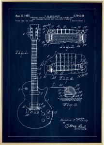 Bildverkstad Patenttekening - Elektrische gitaar I - Blauw Poster