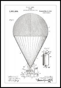 Bildverkstad Patenttekening - Luchtschip - Wit Poster