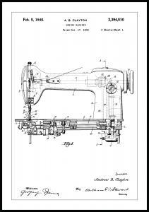 Lagervaror egen produktion Patenttekening - Naaimachine I Poster
