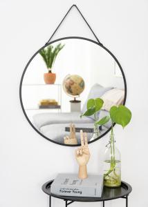 House Nordic Spiegel Trapani Zwart 60 cm Ø