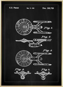Bildverkstad Patenttekening - Star Trek - USS Enterprise - Zwart Poster