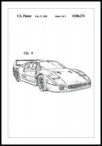 Lagervaror egen produktion Patenttekening - Ferrari F40 II Poster