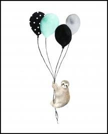 Bildverkstad Sloth With Balloons Poster
