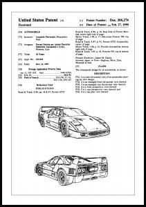 Bildverkstad Patenttekening - Ferrari F40 I Poster