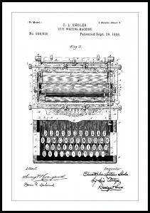 Bildverkstad Patenttekening - Typmachine Poster