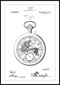 Bildverkstad Patenttekening - Zakhorloge - Wit Poster