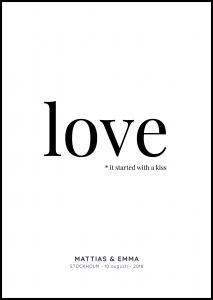 Personlig poster Love - White