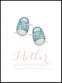 Personlig poster Babyschoenen - Blauw