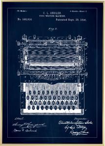 Bildverkstad Patenttekening - Typmachine - Blauw Poster