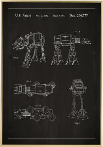 Lagervaror egen produktion Patenttekening - Star Wars - Walker - Zwart Poster