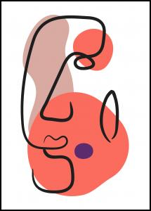 Bildverkstad Abstract Face - Red III Poster