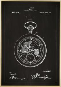 Bildverkstad Patenttekening - Zakhorloge - Zwart Poster