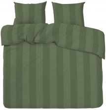 Redlunds Dekbedovertrek set Big Stripe Satin Kingsize 3-delig - Olijf