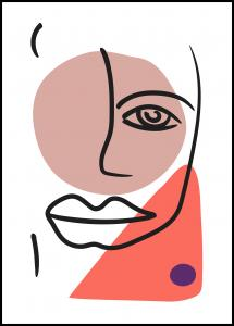 Bildverkstad Abstract Face - Red II Poster