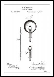 Bildverkstad Patenttekening - Gloeilamp B - Wit Poster