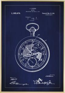 Bildverkstad Patenttekening - Zakhorloge - Blauw Poster