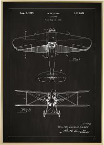 Lagervaror egen produktion Patenttekening - Vliegtuig - Zwart Poster