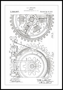 Bildverkstad Patenttekening - Tandwiel - Wit Poster