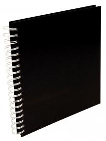 Vierkant Spiraalfotoalbum Zwart -25x25 cm (80 Zwarte pagina's / 40 bladen)